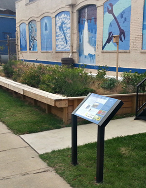 Signage educates visitors about rainwater reuse