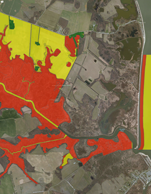 Mapping of habitat vulnerability to climate change (orange–high, gold–medium, green–low) at St. Jones Reserve