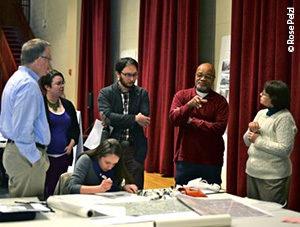 Biohabitats' Jennifer Dowdell (seated) captures input