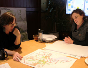 Floura Teeter's Zolna Russell & Biohabitats' Jennifer Missett collaborate during a charrette