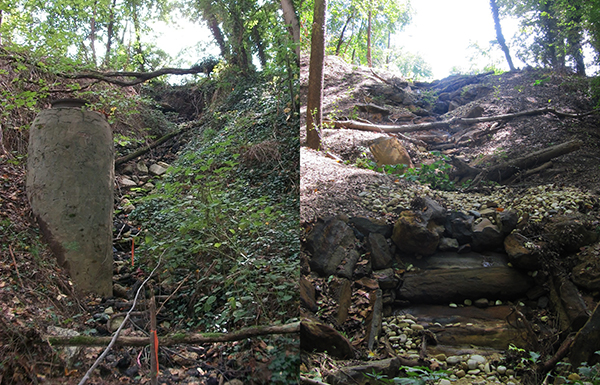 Eroded gully (left); after restoration (right)