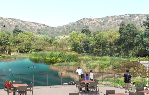 Rendering of proposed Boddy Terrace and lake restoration and biofiltration