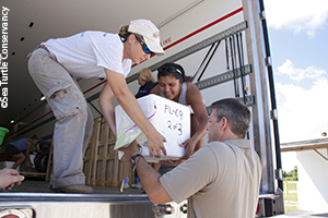 Unloading rescued turtle eggs at NASA