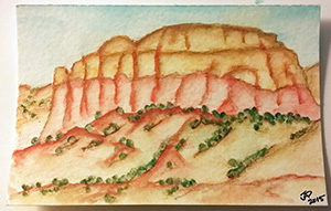 The landcape inspired this watercolor by Jennifer Dowdell
