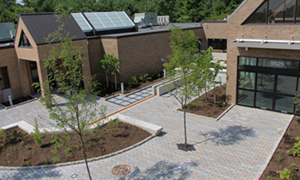 Permeable pavers, stormwater planter and native gardens, Howard County Public Library, Savage Branch