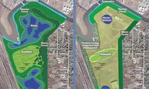 Ecological restoration and green infrastructure woven into 260-acre vacant brownfield site on the banks of the Buffalo River in Buffalo, NY