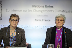 Christine Allen of Christian Aid, UK (L) & Archbishop/Primate Antje Jackelen, Church of Sweden (R)