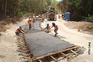 Stream crossing construction during Lao Lao Bay coastal restoration project