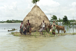 Flooded village on island of Charkajal, Bangladesh