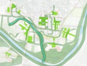 Connective blue & green ways integrated into master plan