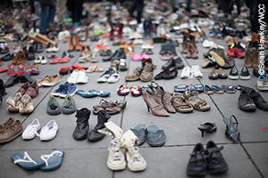Shoes left by demonstrators in Place de la Republique as a symbol of solidarity with those expected to take part in a march that was stopped for security reasons