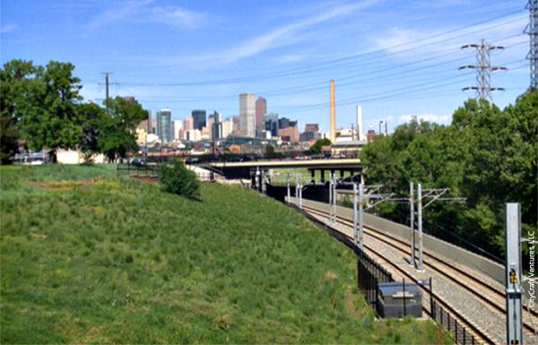 View of west Denver project area along light rail line