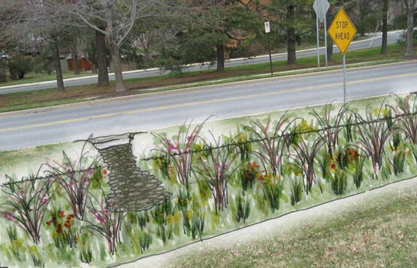Conceptual rendering of proposed curbside bioretention retrofit