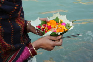 Puja ceremony on the banks of Ganges